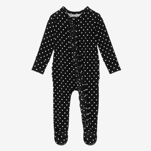 Lilly Footie Ruffled Zippered One Piece with polka dots pattern