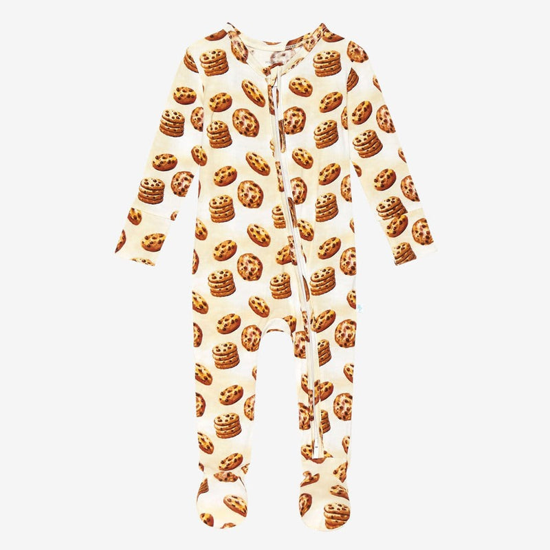 Chip Footie Zippered One Piece with cookie pattern