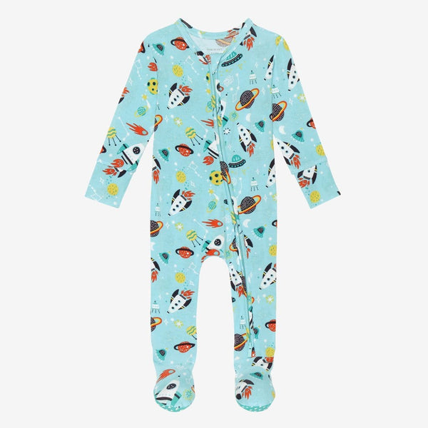 Cosmo Footie Zippered One Piece with rocket and planet patterns