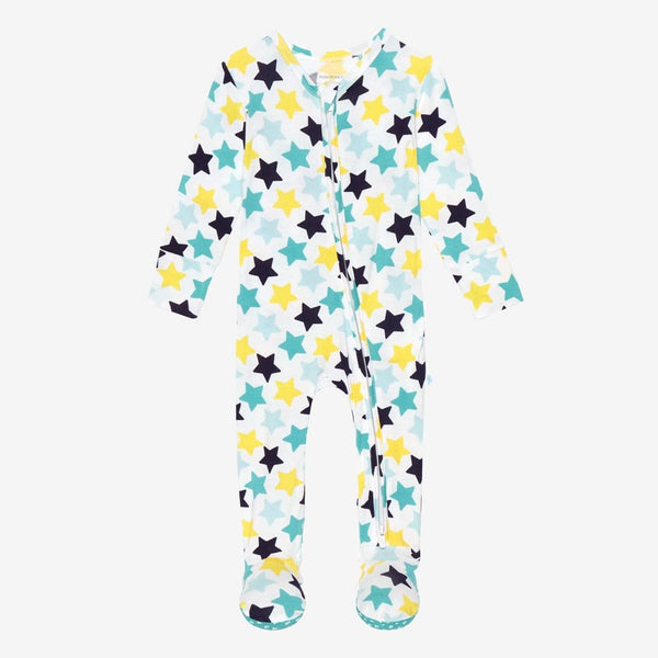 Tommy Footie Zippered One Piece with star pattern