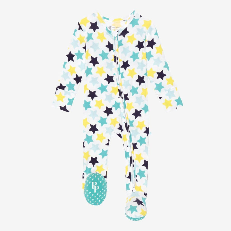 Tommy Footie Open Zipper One Piece with star pattern