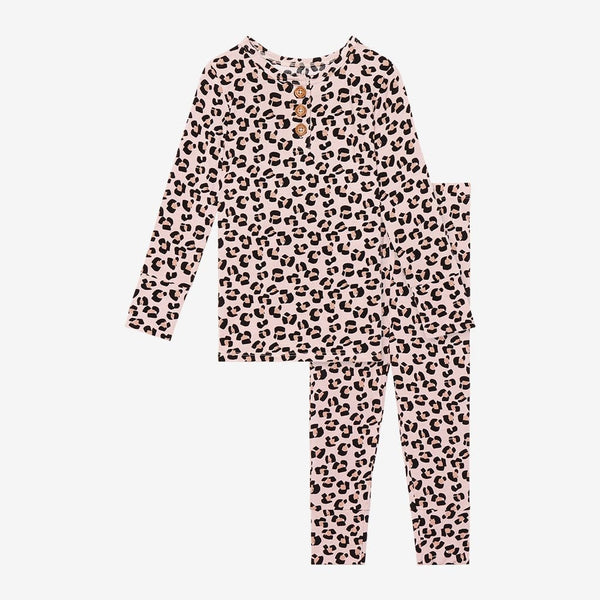 Samara Long Sleeve Henley Pajamas with jaguar pattern