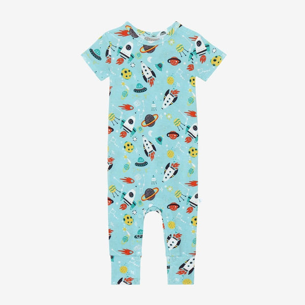 Cosmo Short Sleeve Romper with rocket and planet pattern