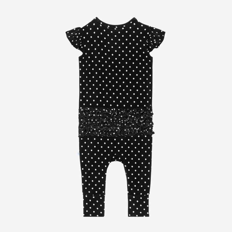 Lilly Ruffled Cap Sleeve Romper with polka dots pattern back side