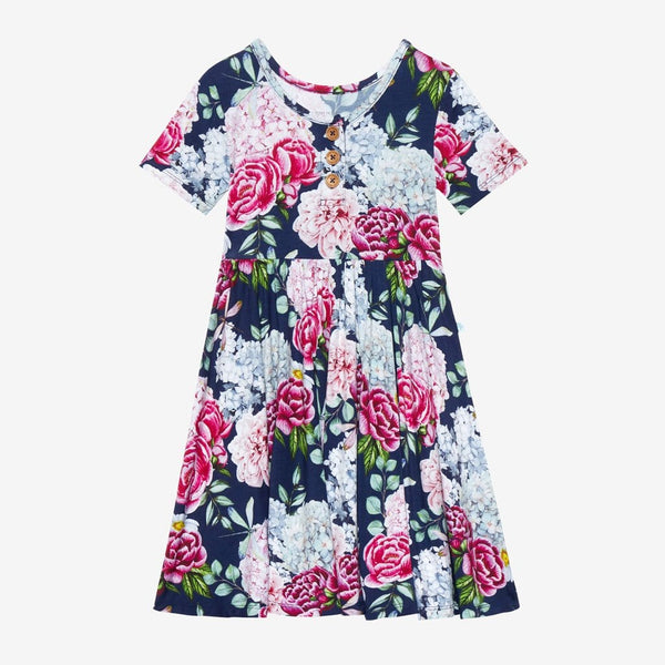 Hayley Short Sleeve Henley Twirl Dress
