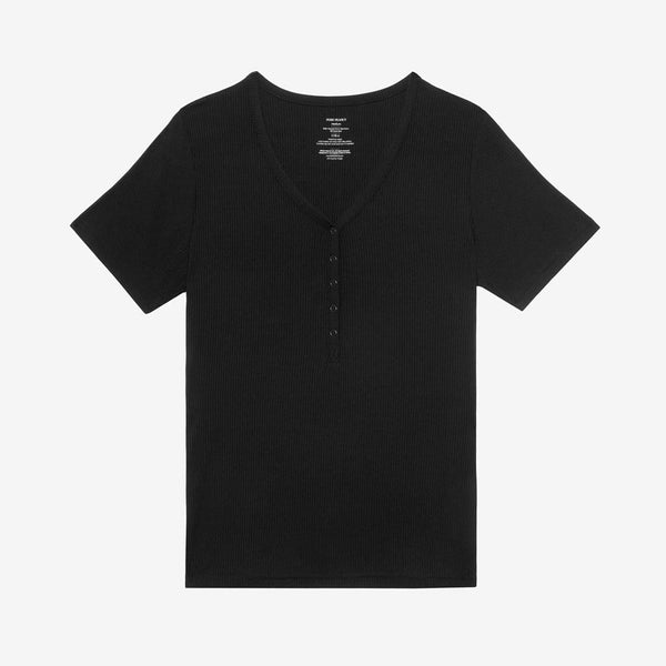 Black Ribbed Women's Short Sleeve Loungewear