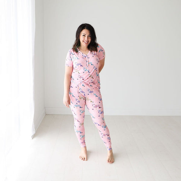 Mommy wearing Claudine Women's Short Sleeve Loungewear