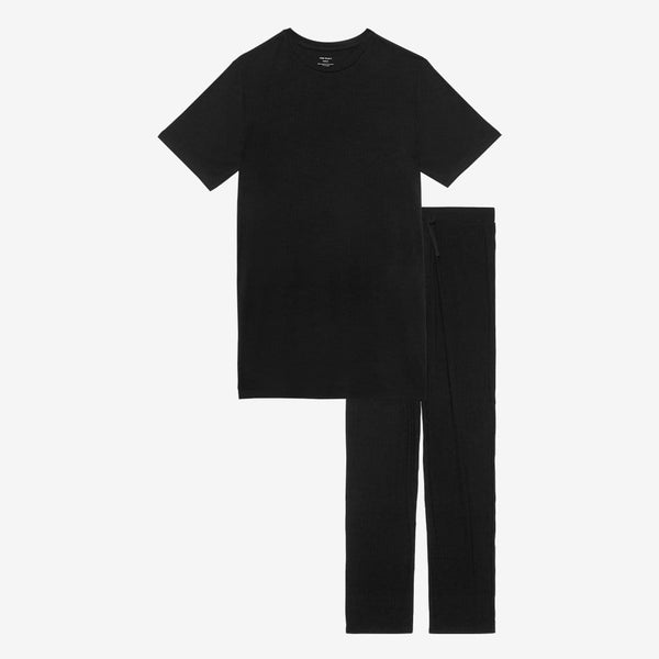 Black Ribbed Men's Short Sleeve Loungewear