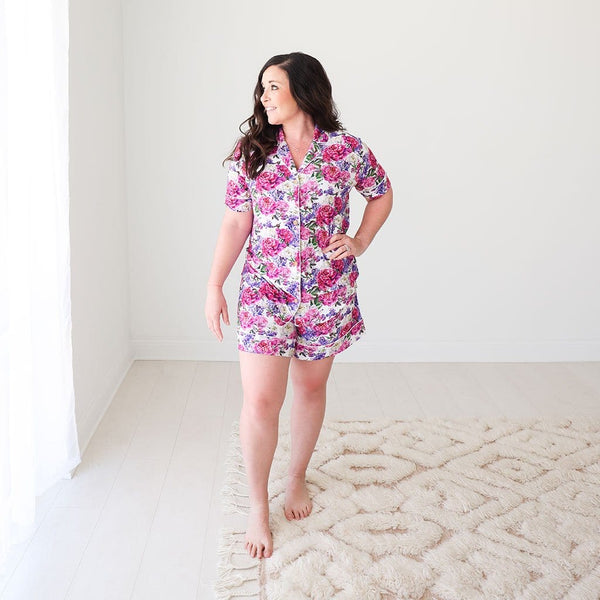 Mommy wearing Bella Women's Short Luxe Loungewear