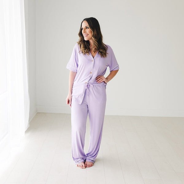 Mommy wearing Amethyst Women's Relaxed Pant Luxe Loungewear