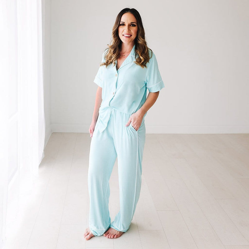 Mommy wearing Robins Egg Women's Relaxed Pant Luxe Loungewear
