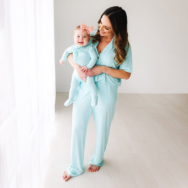 Mommy with baby wearing Robins Egg Women's Relaxed Pant Luxe Loungewear