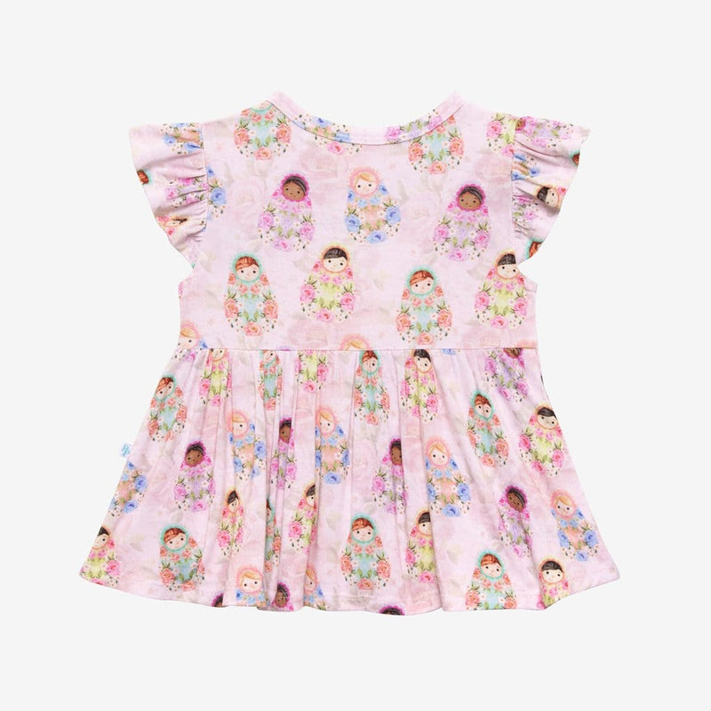 Matryoshka Pink Ruffled Cap Sleeve Peplum Ruffled Back
