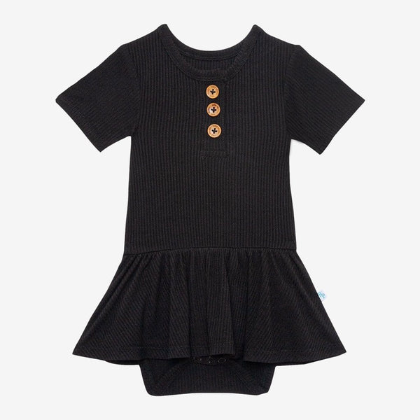 Black Ribbed Short Sleeve Henley Twirl Skirt Bodysuit