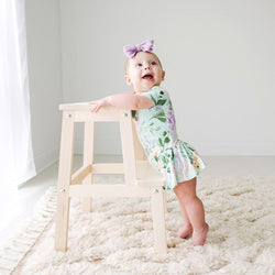 Baby on Floral Erin Short Sleeve Henley Twirl Skirt Bodysuit