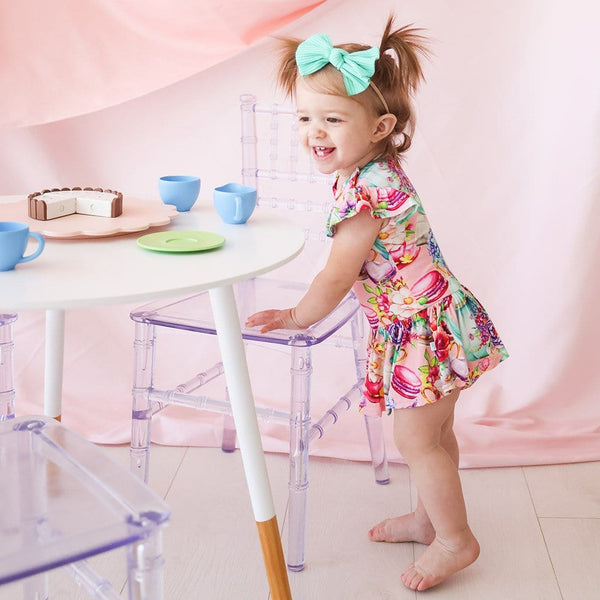 Baby on Elizabeth Ruffled Cap Sleeve Twirl Skirt Bodysuit