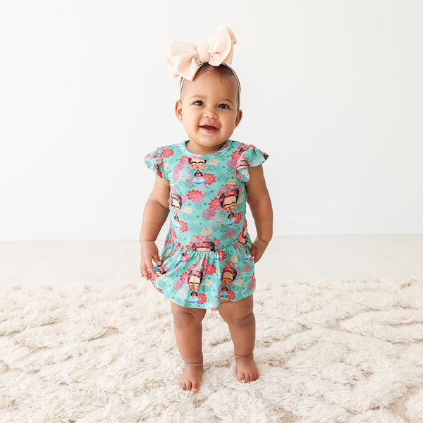 Baby on Frida Kahlo Ruffled Cap Sleeve Twirl Skirt Bodysuit