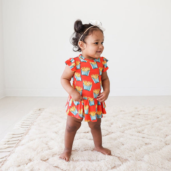 Baby on Fry Ruffled Cap Sleeve Twirl Skirt Bodysuit