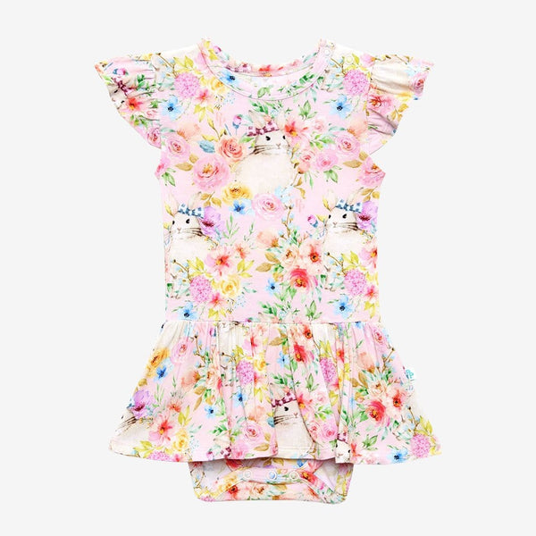 Floral Rose Ruffled Cap Sleeve Twirl Skirt Bodysuit