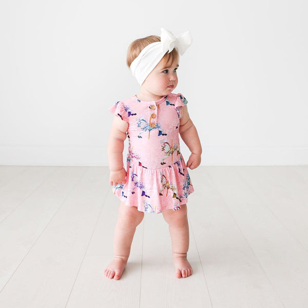 Baby in Claudine Ruffled Cap Sleeve Henley Twirl Skirt Bodysuit