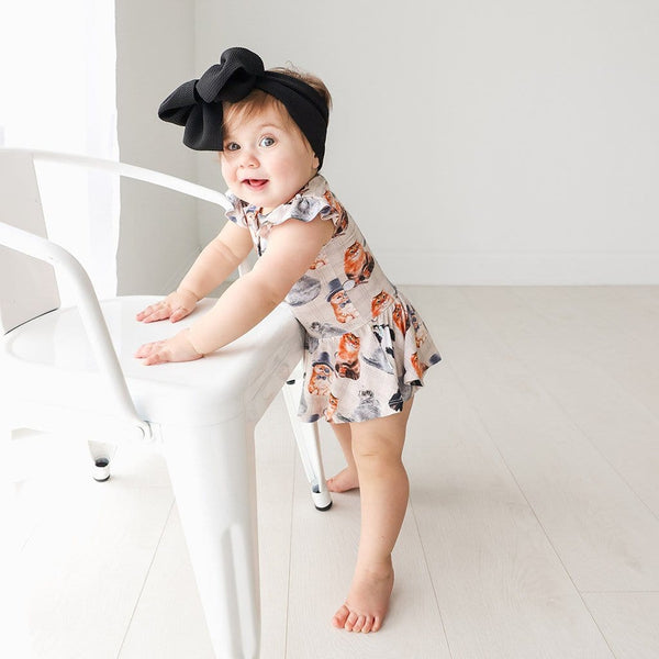 Baby on Collyns Ruffled Cap Sleeve Henley Twirl Skirt Bodysuit