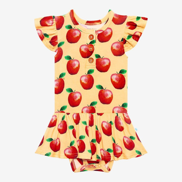 Finn Ruffled Cap Sleeve Henley Twirl Skirt Bodysuit with red apple print