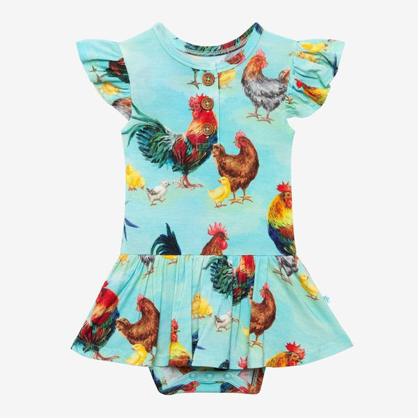Rhett Ruffled Cap Sleeve Henley Twirl Skirt Bodysuit in chicken print