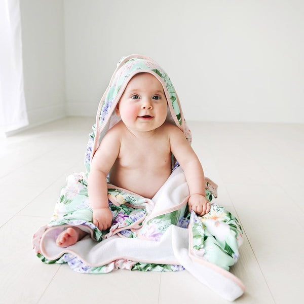 Baby on Floral Erin Ruffled Hooded Towel