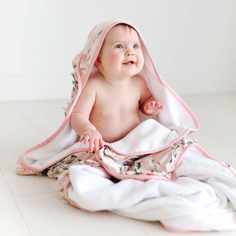 Vintage Pink Rose Ruffled Hooded Towel