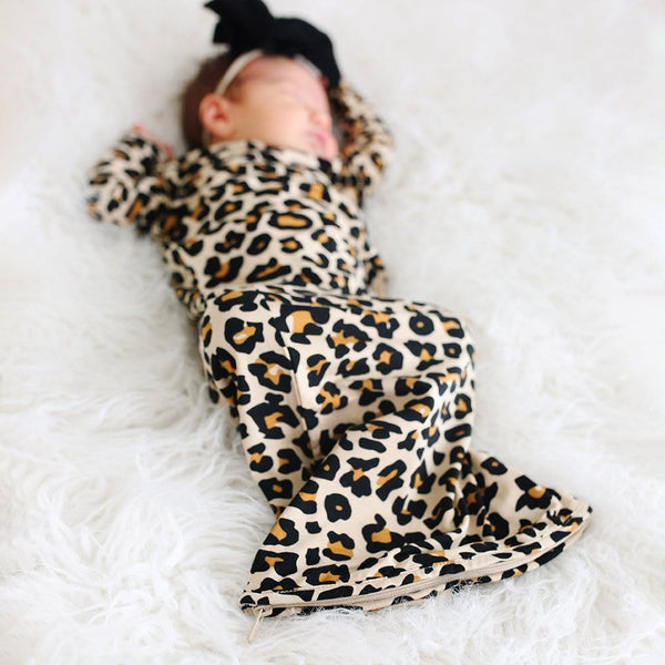 Lana Leopard Tan Zippered Gown
