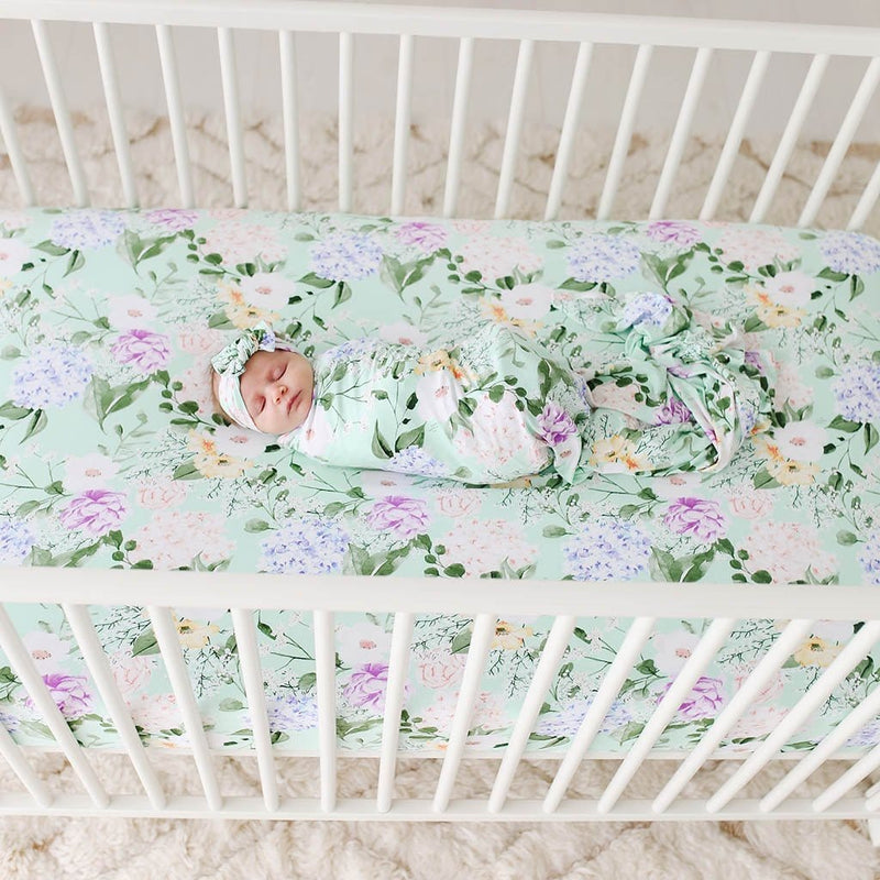 Erin Crib Sheet on white crib