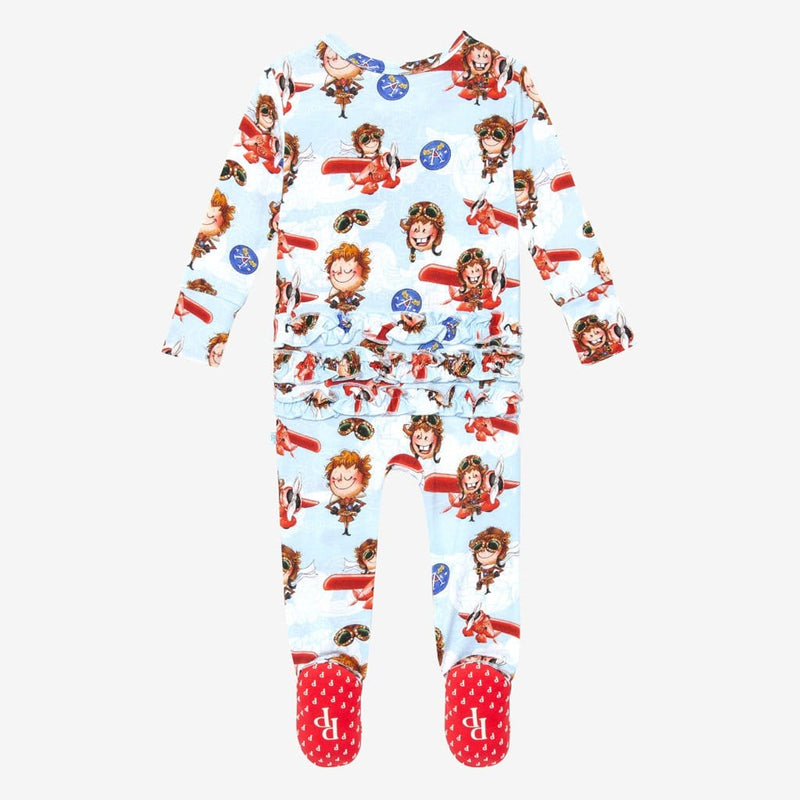 Amelia Earhart Footie Ruffled Zippered One Piece Back