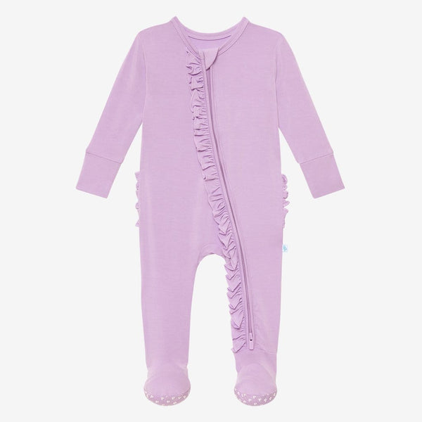 Amethyst Footie Ruffled Zippered One Piece