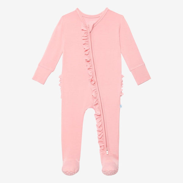 Cotton Candy Footie Ruffled Zippered One Piece