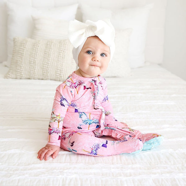 Baby on Claudine Footie Ruffled Zippered One Piece