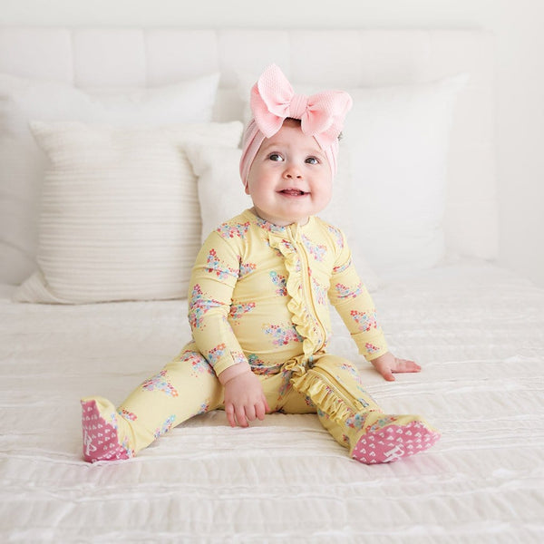 Baby on Keira Footie Ruffled Zippered One Piece