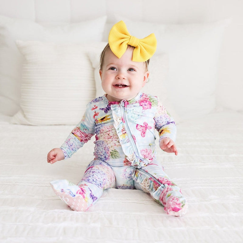 Baby on Nicolette Footie Ruffled Zippered One Piece