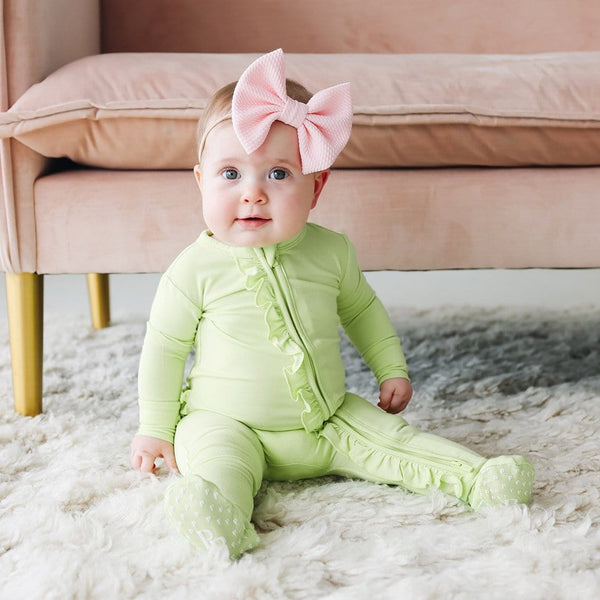 Pistachio Footie Ruffled Zippered One Piece