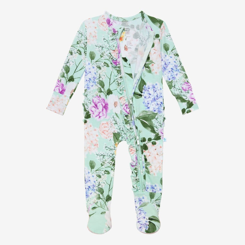 Floral Erin Footie Ruffled Open Zipper One Piece