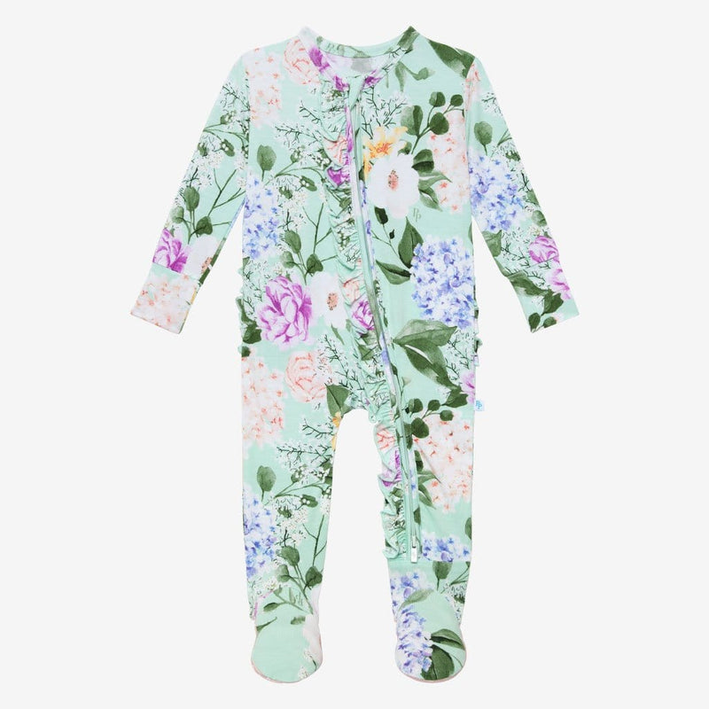 Floral Erin Footie Ruffled Zippered One Piece