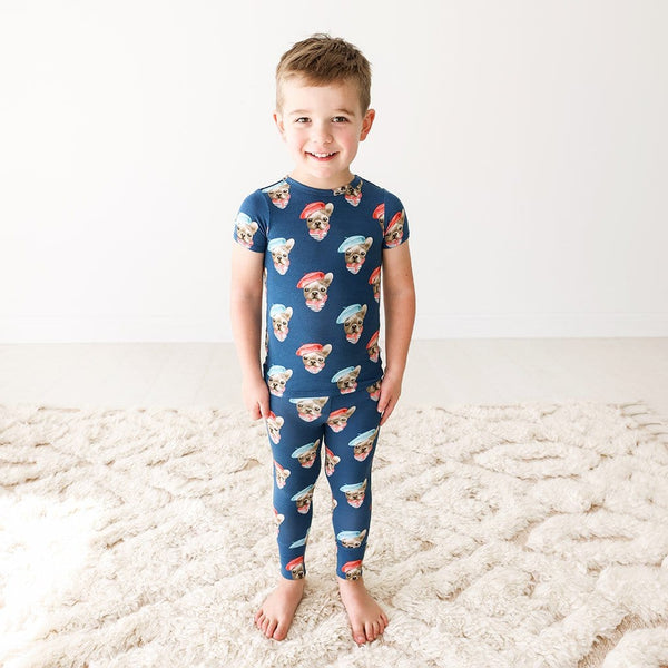 Toddler wearing Blue Dog Print Frenchie Short Sleeve Pajamas
