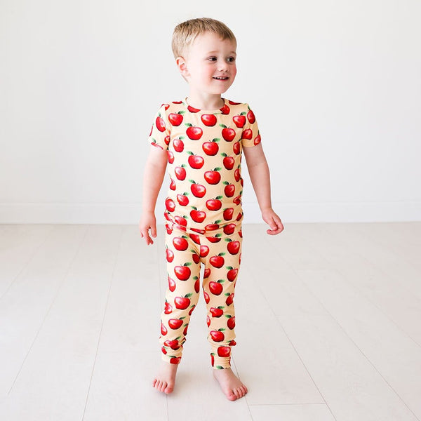 Boy wearing apple printed Finn Short Sleeve Pajamas