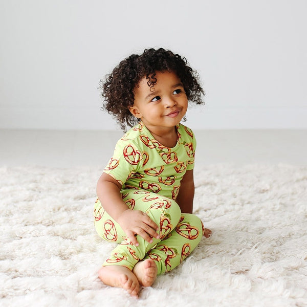 Baby wearing Pretzel Short Sleeve Pajamas