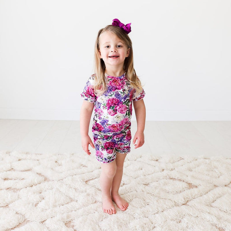 Toddler wearing Floral Bella Ruffled Short Sleeve Ruffled Short Pajamas