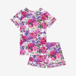 Floral Bella Ruffled Short Sleeve Ruffled Short Pajamas
