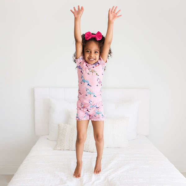 Toddler wearing Claudine Ruffled Short Sleeve Ruffled Short Pajamas