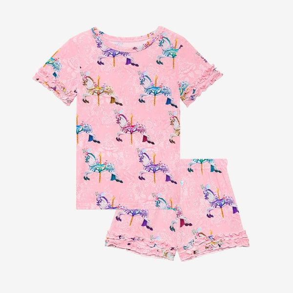 Claudine Ruffled Short Sleeve Ruffled Short Pajamas