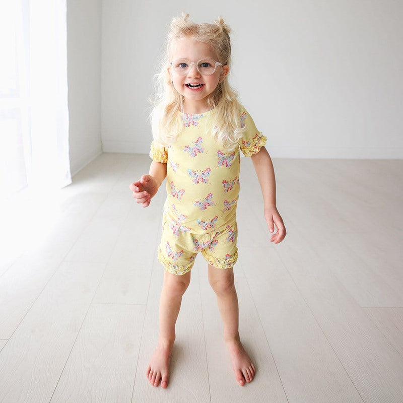 baby on Keira Ruffled Short Sleeve Ruffled Short Pajamas