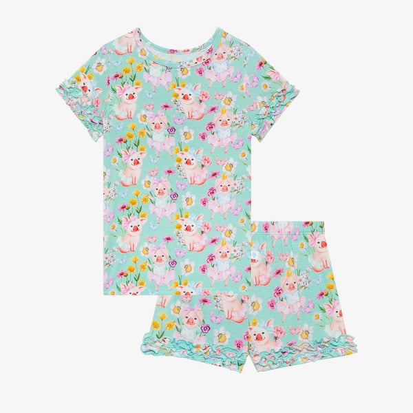 Missy Ruffled Short Sleeve Ruffled Short Pajamas with floral print
