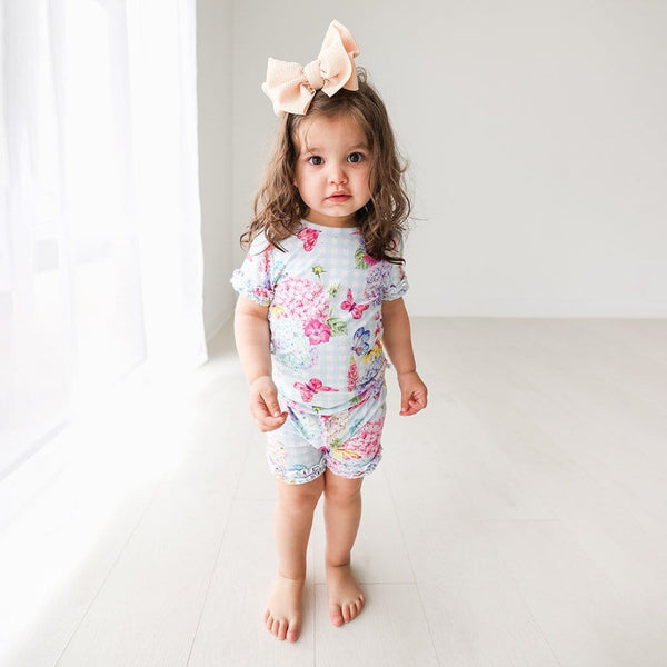 Baby on Nicolette Ruffled Short Sleeve Ruffled Short Pajamas